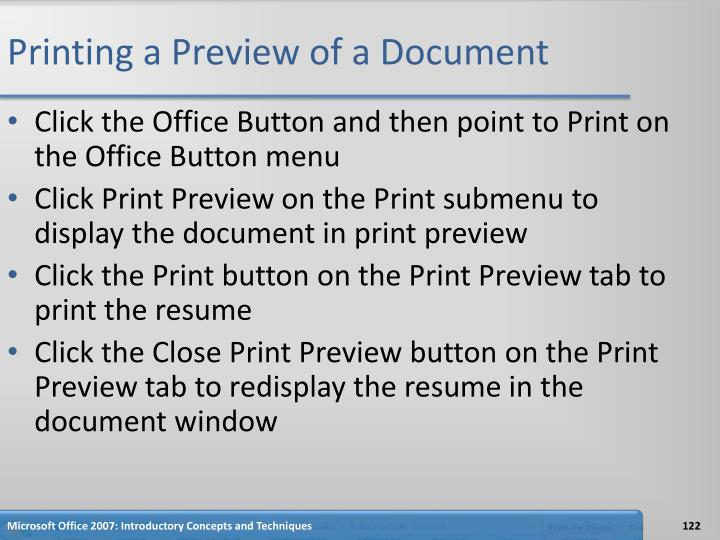 Printing a Preview of a Document