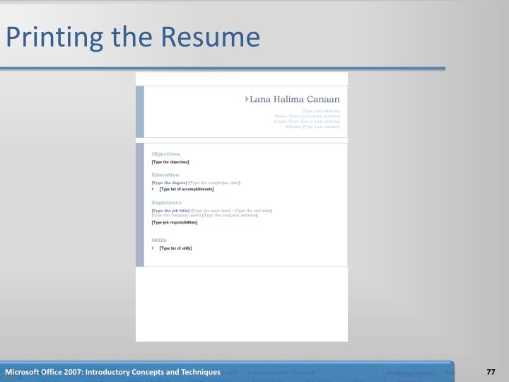 Printing the Resume