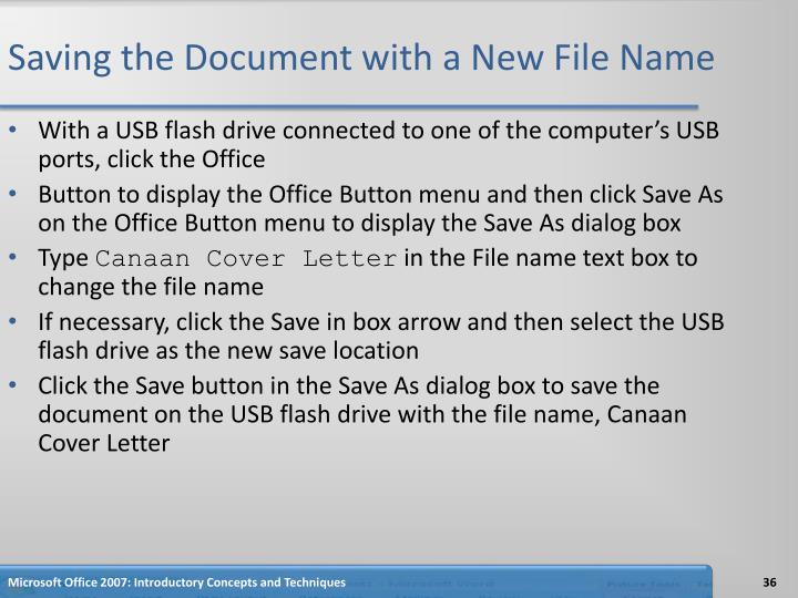 Saving the Document with a New File Name