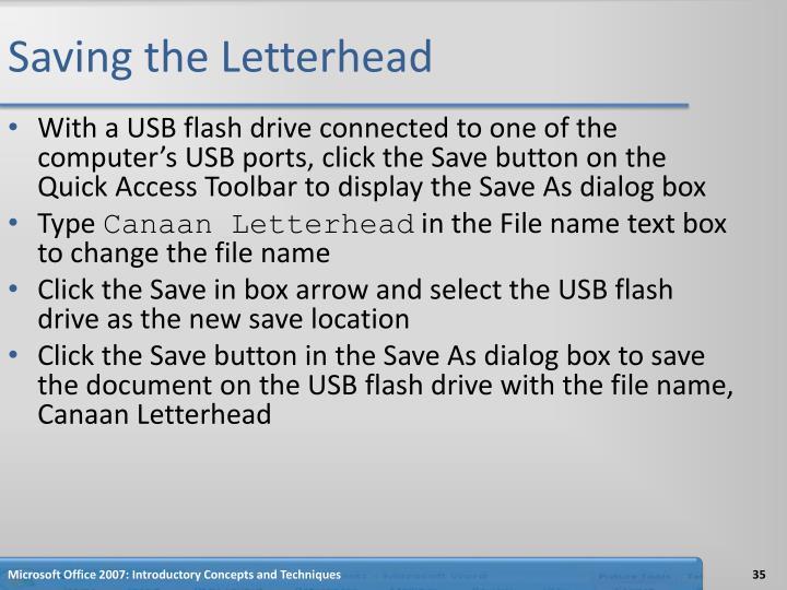 Saving the Letterhead