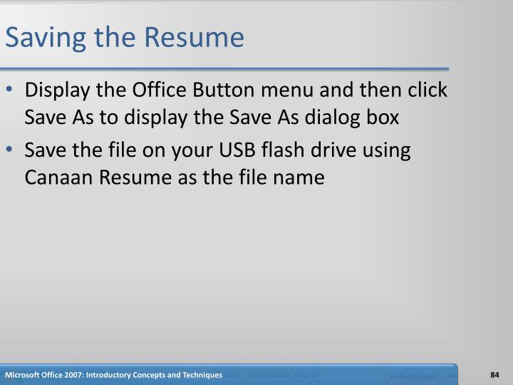 Saving the Resume