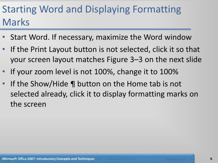 Starting Word and Displaying Formatting Marks