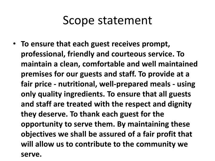 Scope statement