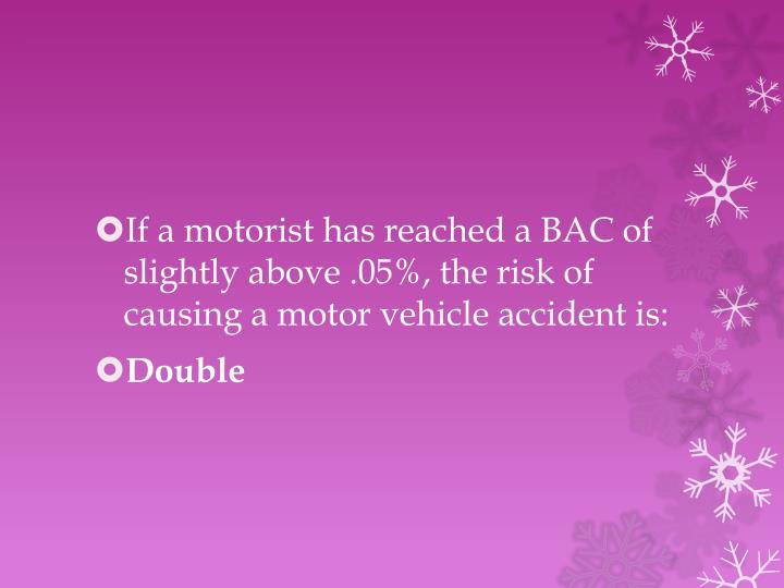 If a motorist has reached a BAC of slightly above .05%, the risk of causing a motor vehicle accident is: