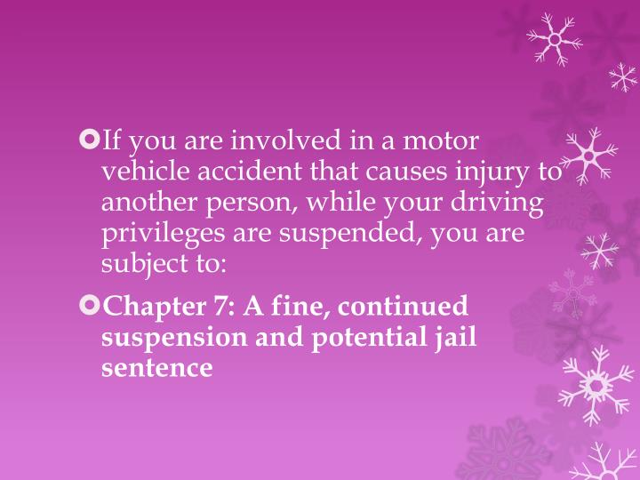 If you are involved in a motor vehicle accident that causes injury to another person, while your driving privileges are suspended, you are subject to: