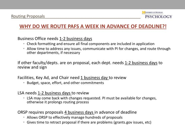 Routing Proposals
