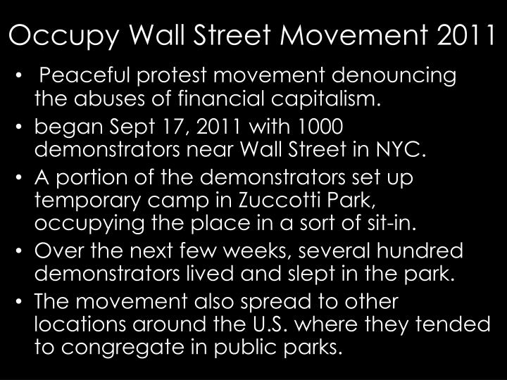 Occupy Wall Street Movement 2011