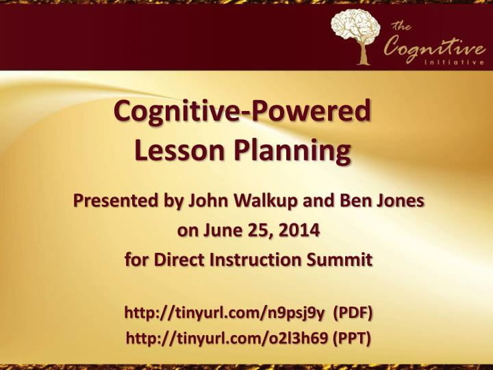 cognitive powered lesson planning
