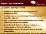 evidence of instruction