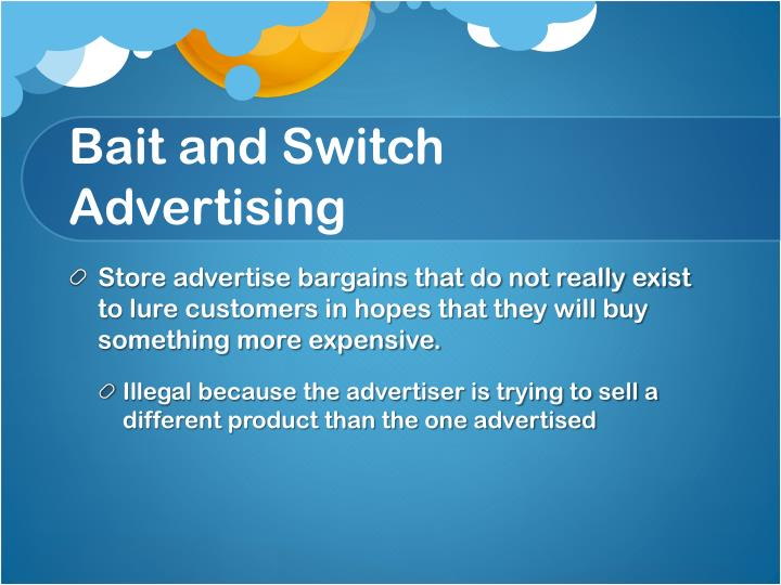 Bait and Switch Advertising