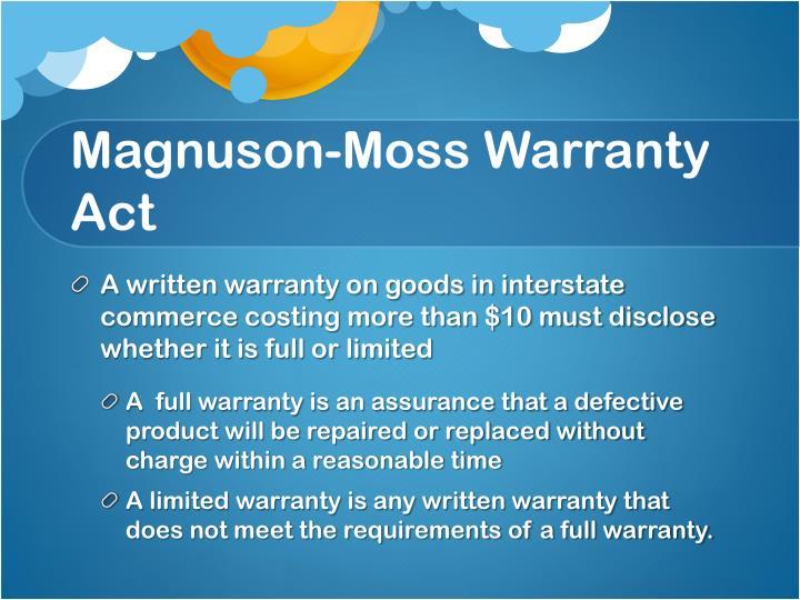 Magnuson-Moss Warranty Act