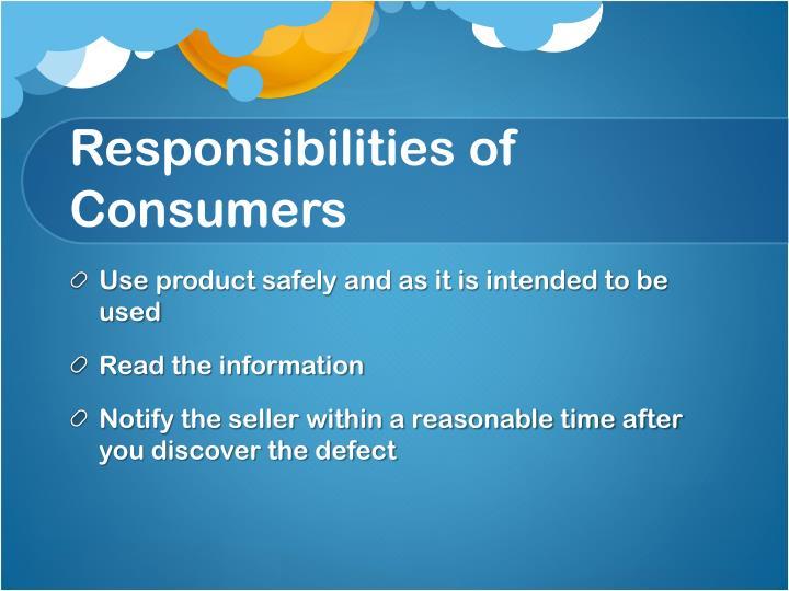 Responsibilities of Consumers