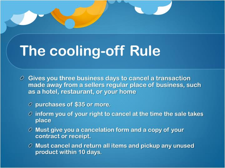 The cooling-off Rule