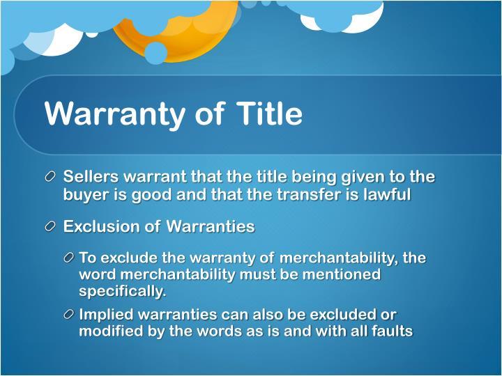 Warranty of Title
