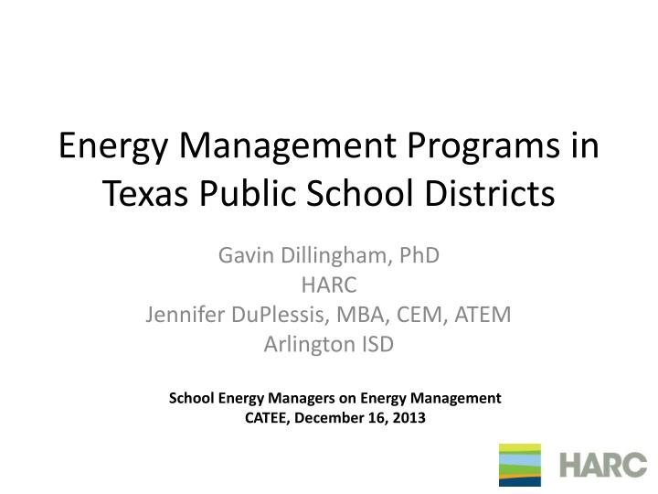 energy management programs in texas public school districts n.