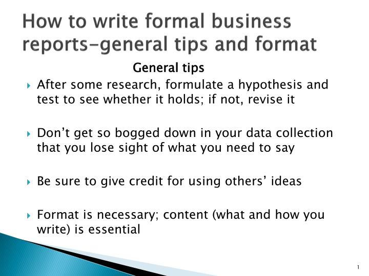 how to write formal business reports general tips and format n.