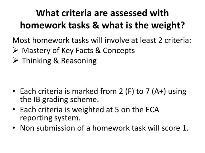 What criteria are assessed with homework tasks & what is the weight?