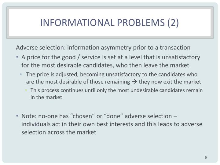 Informational Problems (2)