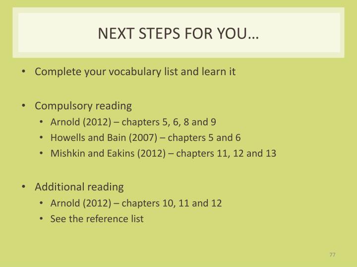 Next steps for you…