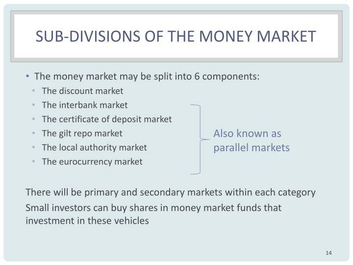 Sub-divisions of the money market