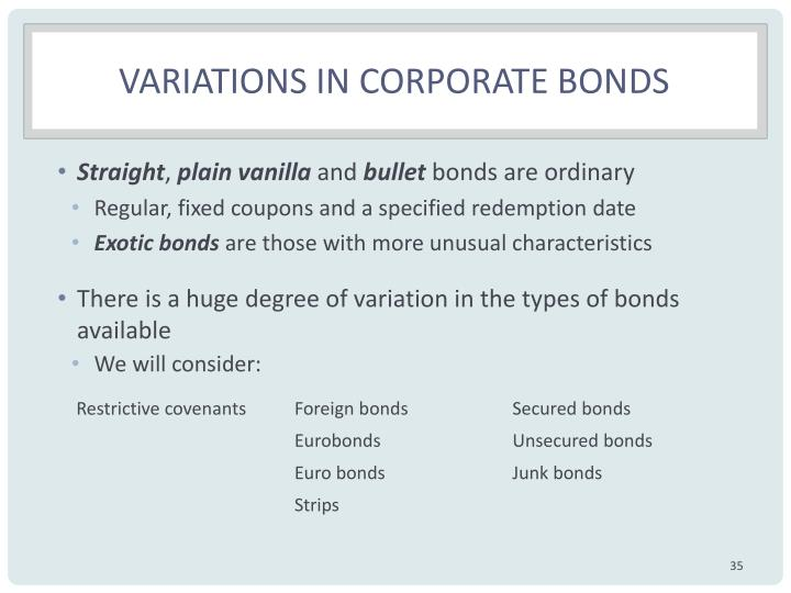 Variations in corporate bonds