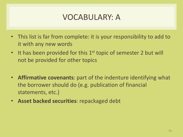Vocabulary: A