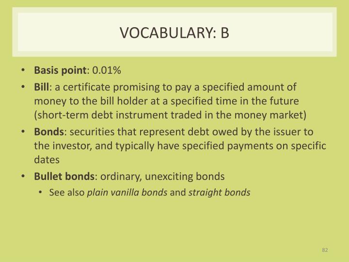 Vocabulary: B