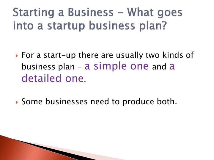 Starting a Business - What goes into a startup business plan?