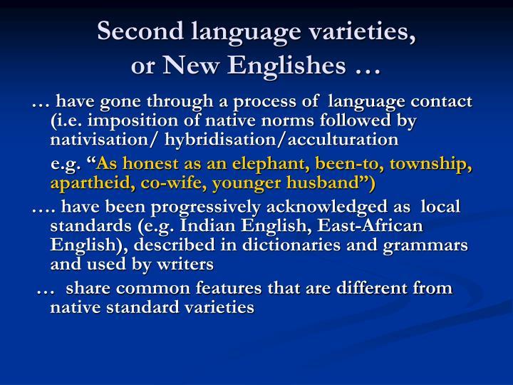 Second language varieties,