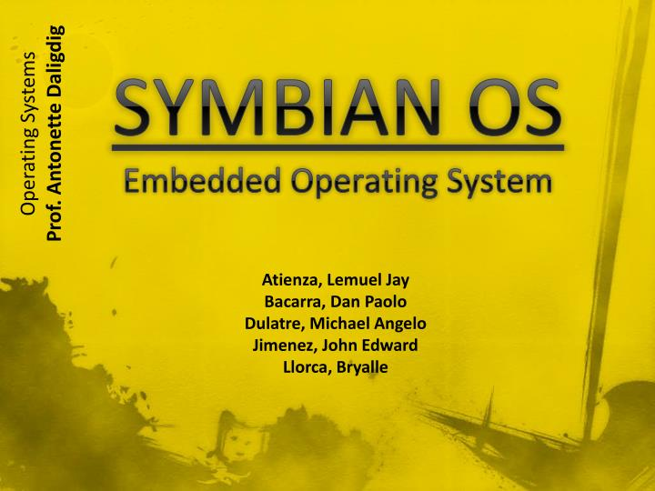 PPT - SYMBIAN OS Embedded Operating System PowerPoint