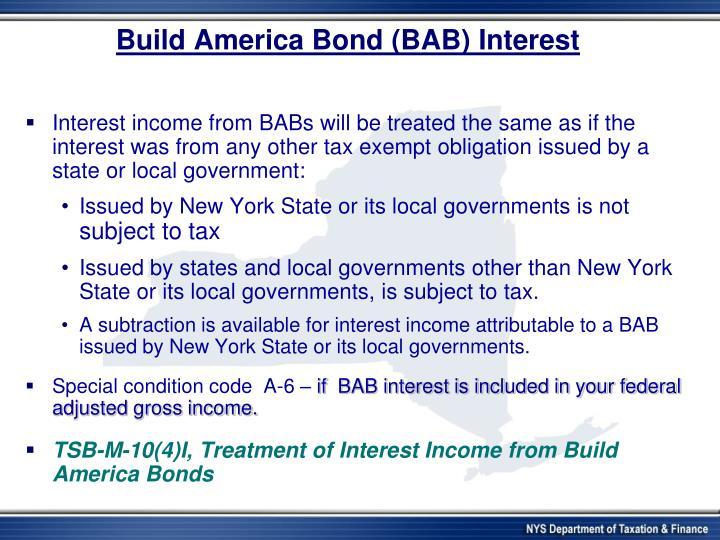 Build America Bond (BAB) Interest