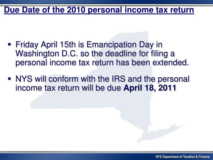 Due Date of the 2010 personal income tax return