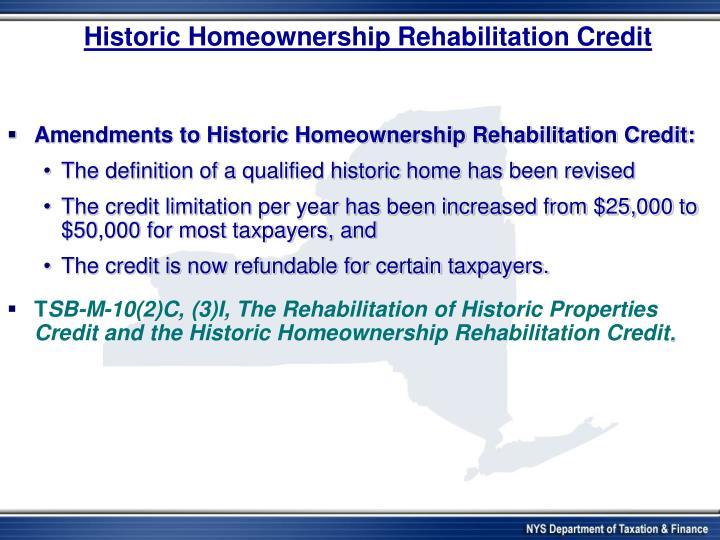 Historic Homeownership Rehabilitation Credit