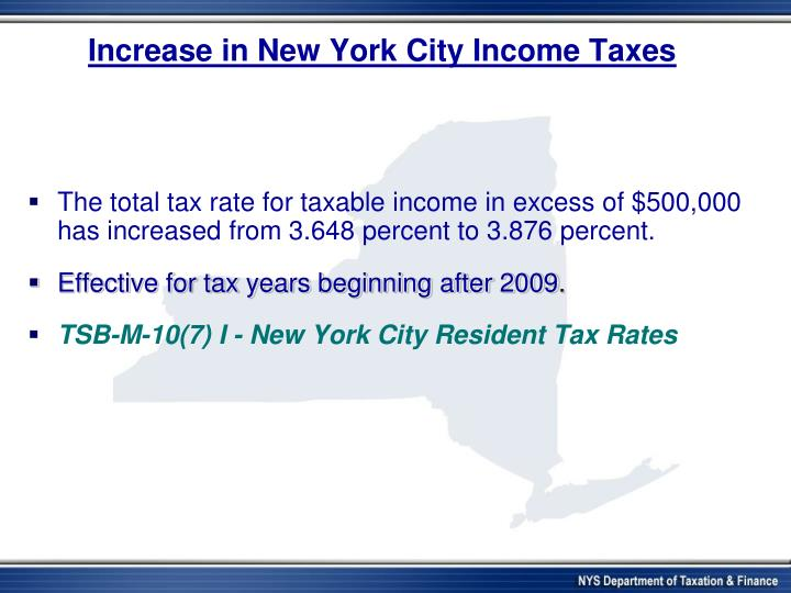 Increase in New York City Income Taxes