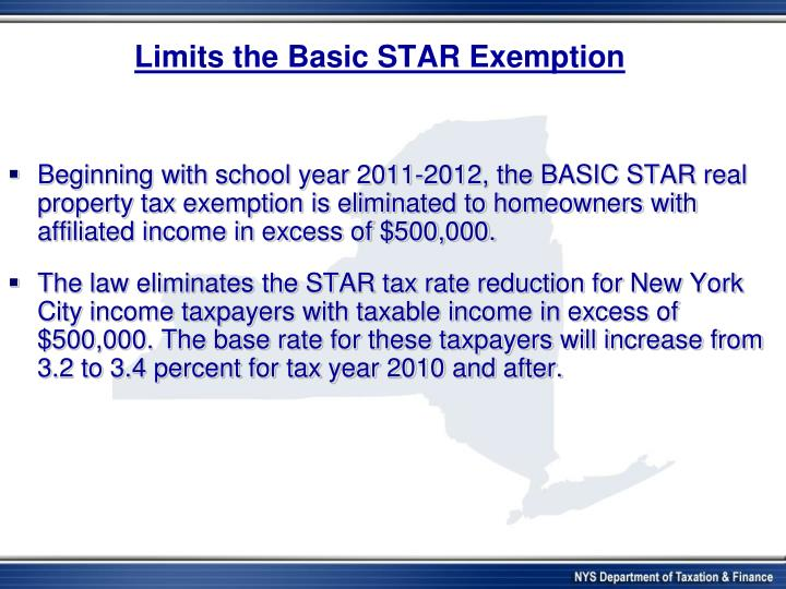 Limits the Basic STAR Exemption