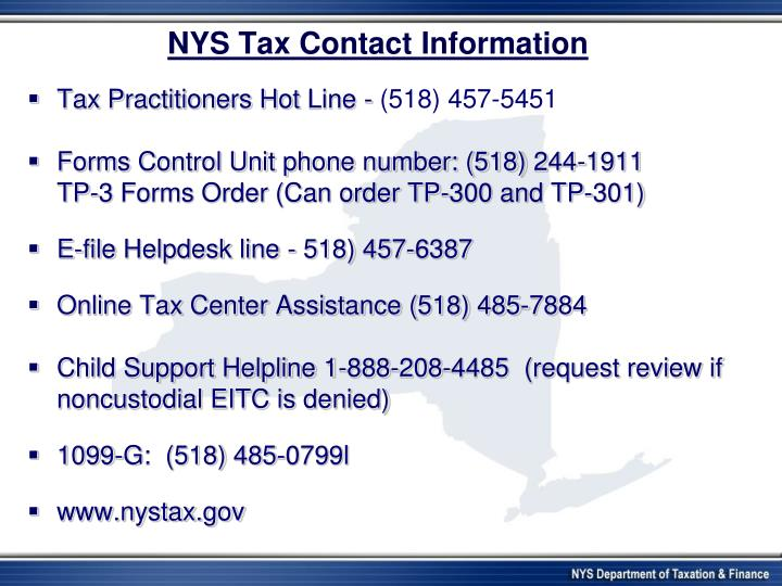 Nys tax contact information