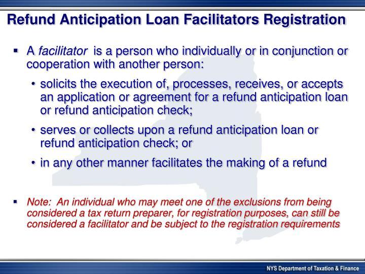 Refund Anticipation Loan Facilitators Registration
