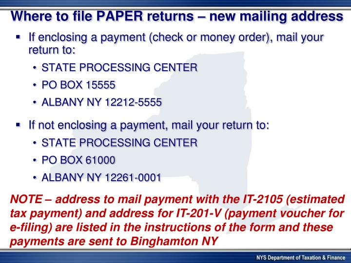 Where to file PAPER returns – new mailing address