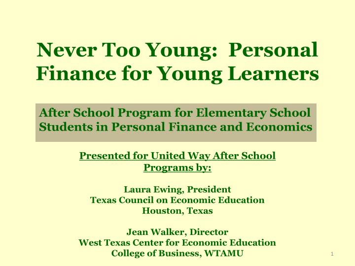 never too young personal finance for young learners n.