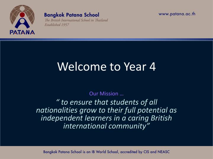 Welcome to year 4