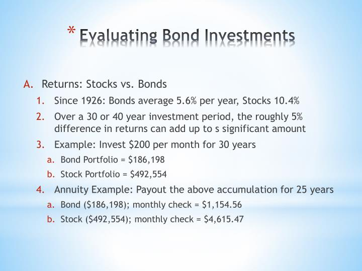 Evaluating Bond Investments