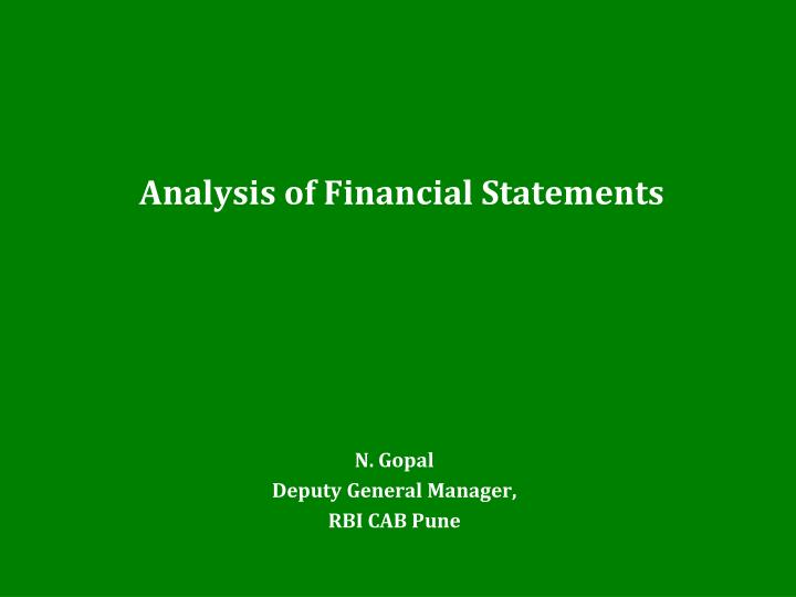 analysis of financial statements n.