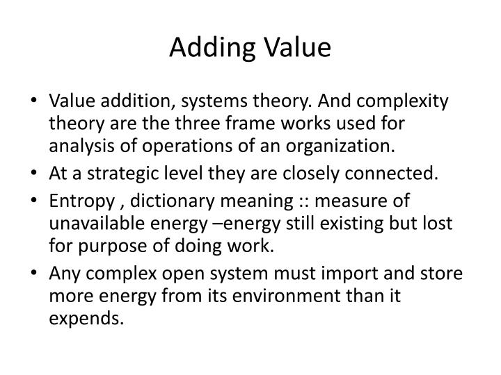 Adding Value