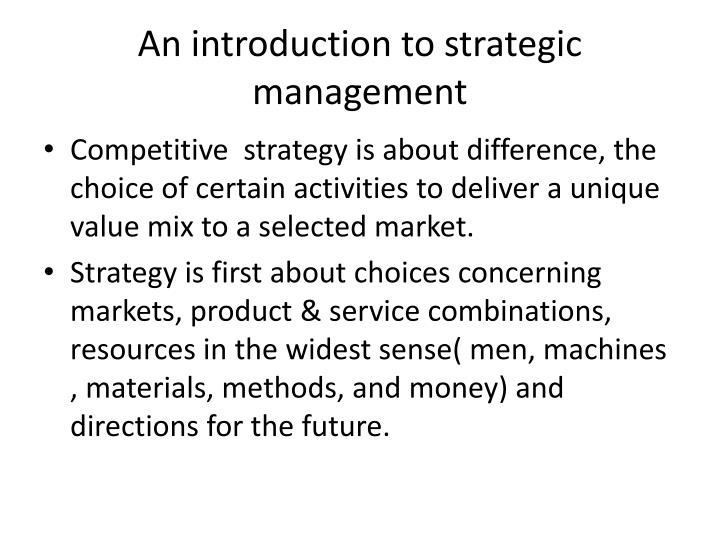 An introduction to strategic management