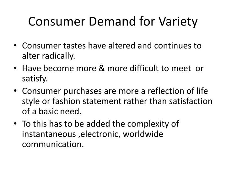 Consumer Demand for Variety