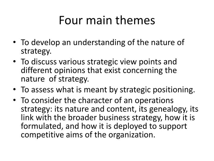 Four main themes