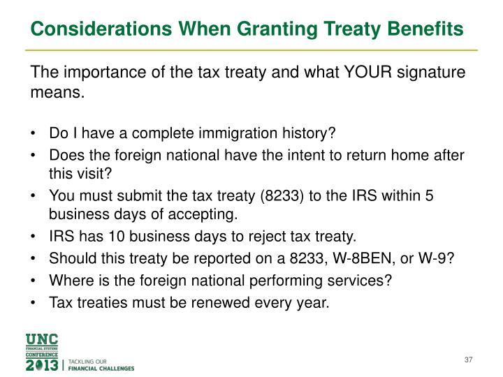 Considerations When Granting Treaty Benefits