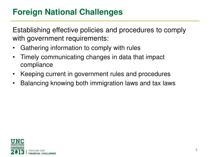 Foreign National Challenges