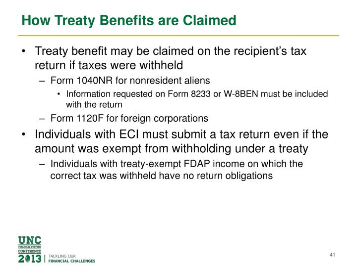 How Treaty Benefits are Claimed