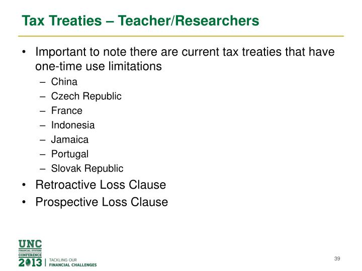 Tax Treaties – Teacher/Researchers